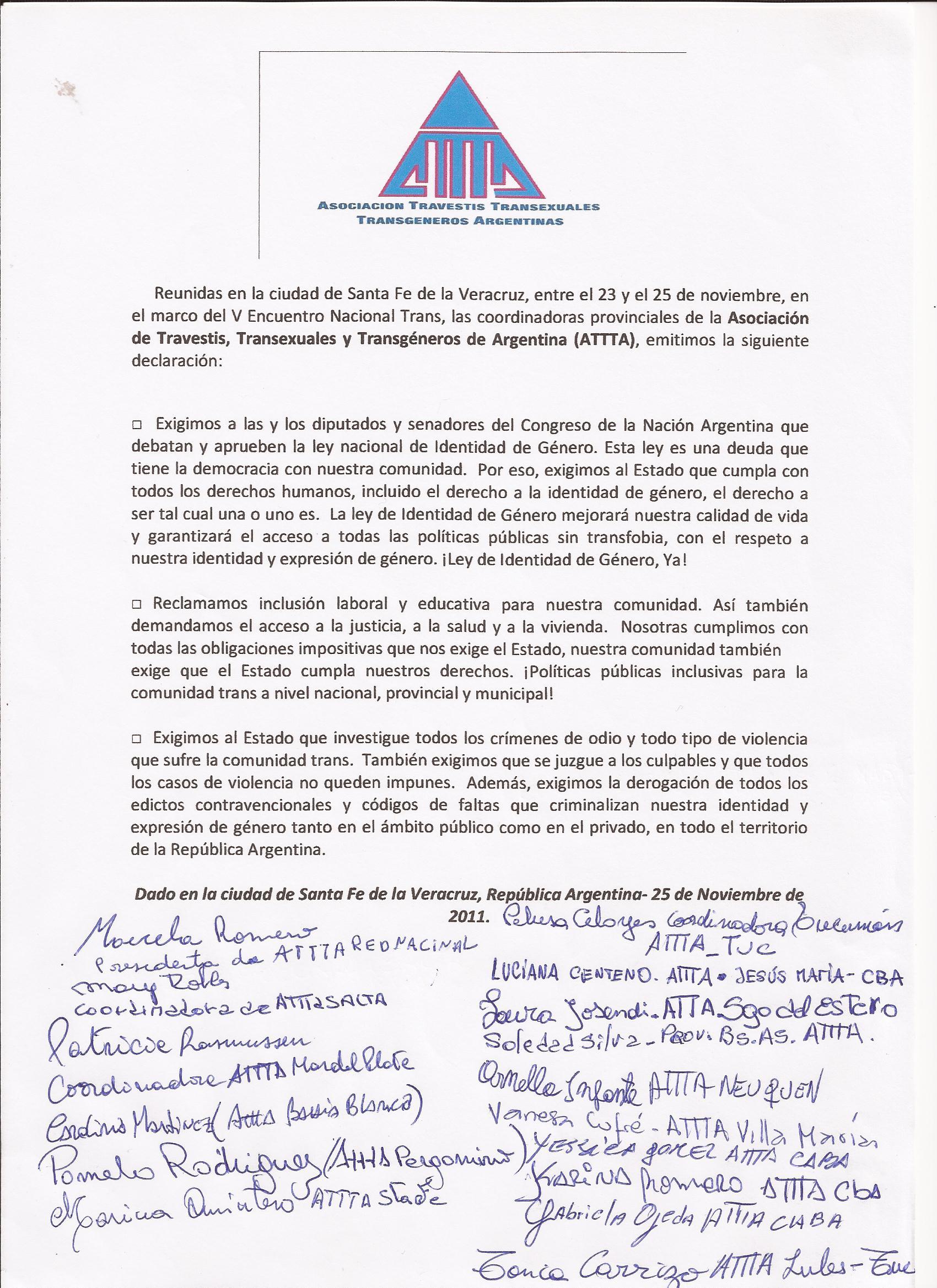Documento Polìtico 5º Encuentro Trans ATTTA