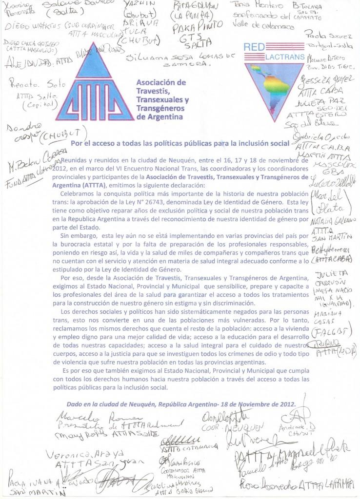 documento politico ATTTA Neuquen