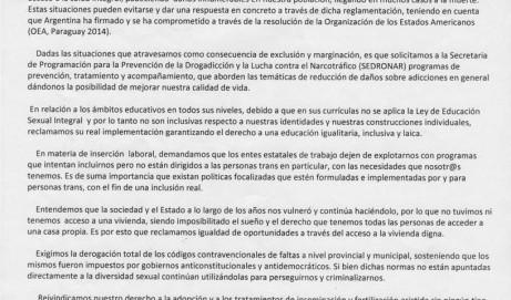 Declaración del 8° Encuentro Nacional de ATTTA en Comodoro Rivadavia, Chubut. Vamos por más inclusión social para las personas trans!