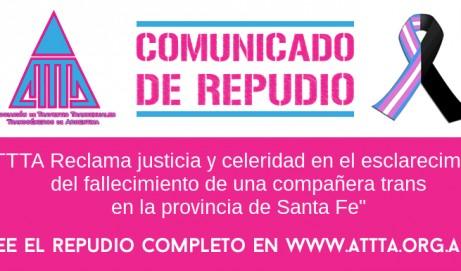 ATTTA Reclama justicia y celeridad en el esclarecimiento del fallecimiento de una  compañera trans en la provincia de Santa Fe