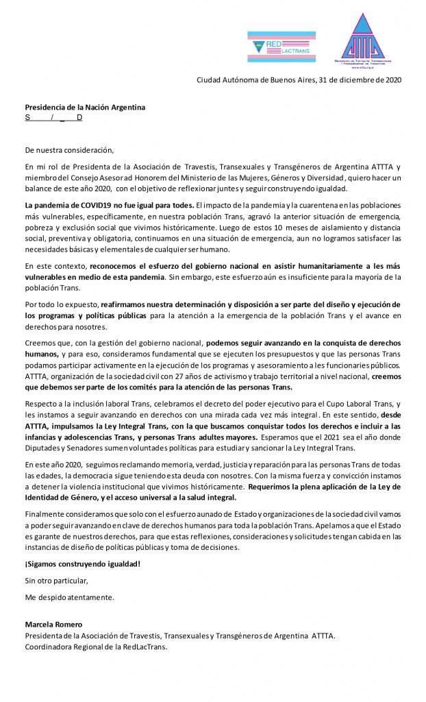 Carta de ATTTA a Presidencia de la Nación Balance 2020